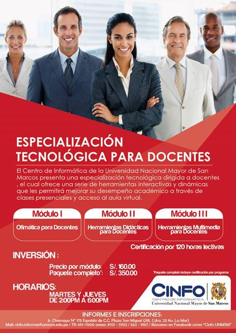 Curso de Especialización tecnológica para docentes