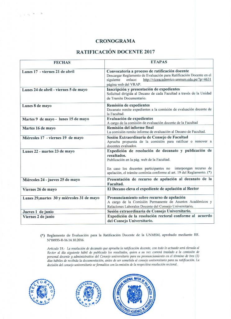 ANEXO RR 01672-R-17 CRONOGRAMA RATIFICACION DOCENTE 2017 (1)